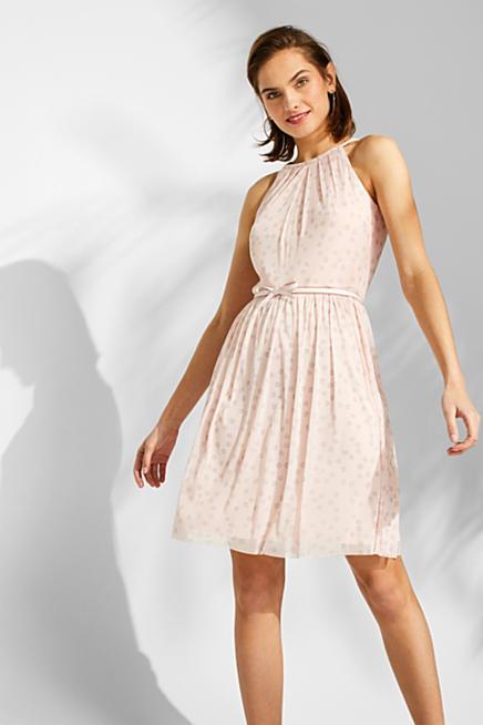 f762e722da Sukienka z siateczki z nadrukiem i paskiem z kokardką