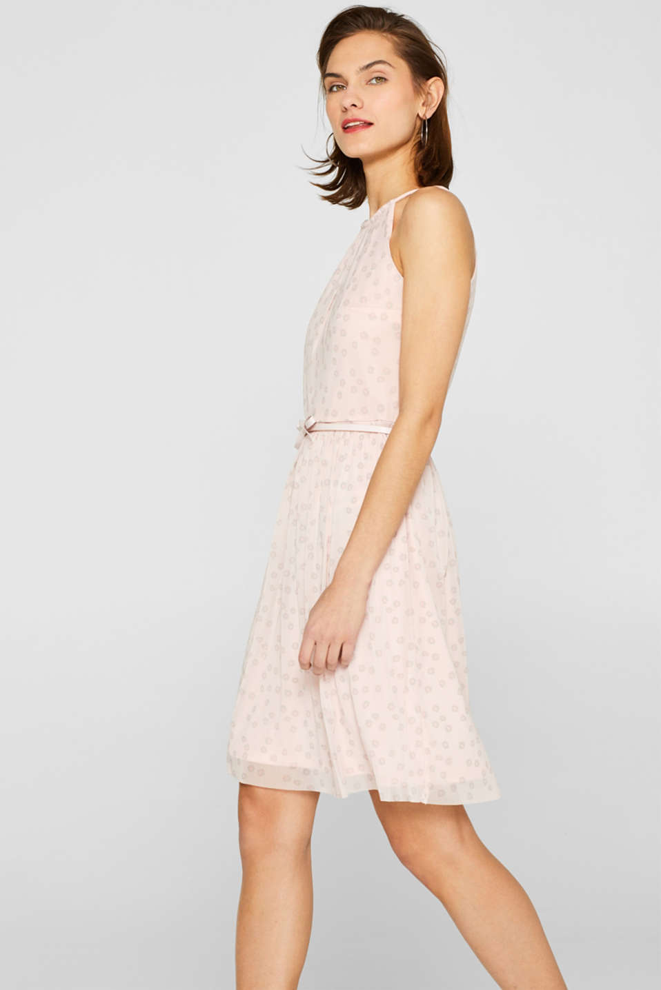 Mesh dress with a print and a bow-detailed belt, OLD PINK, detail image number 5