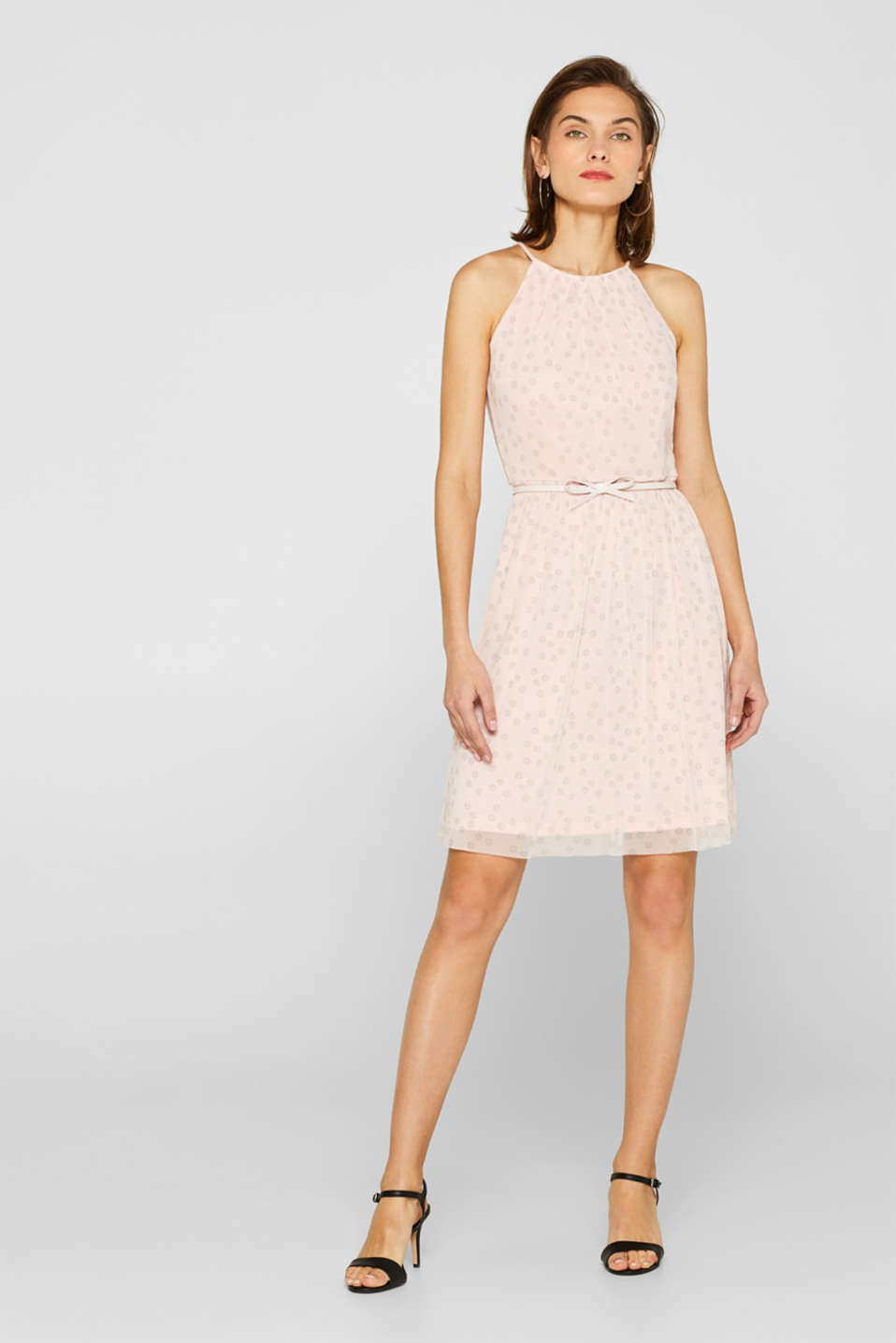 Mesh dress with a print and a bow-detailed belt, OLD PINK, detail image number 1