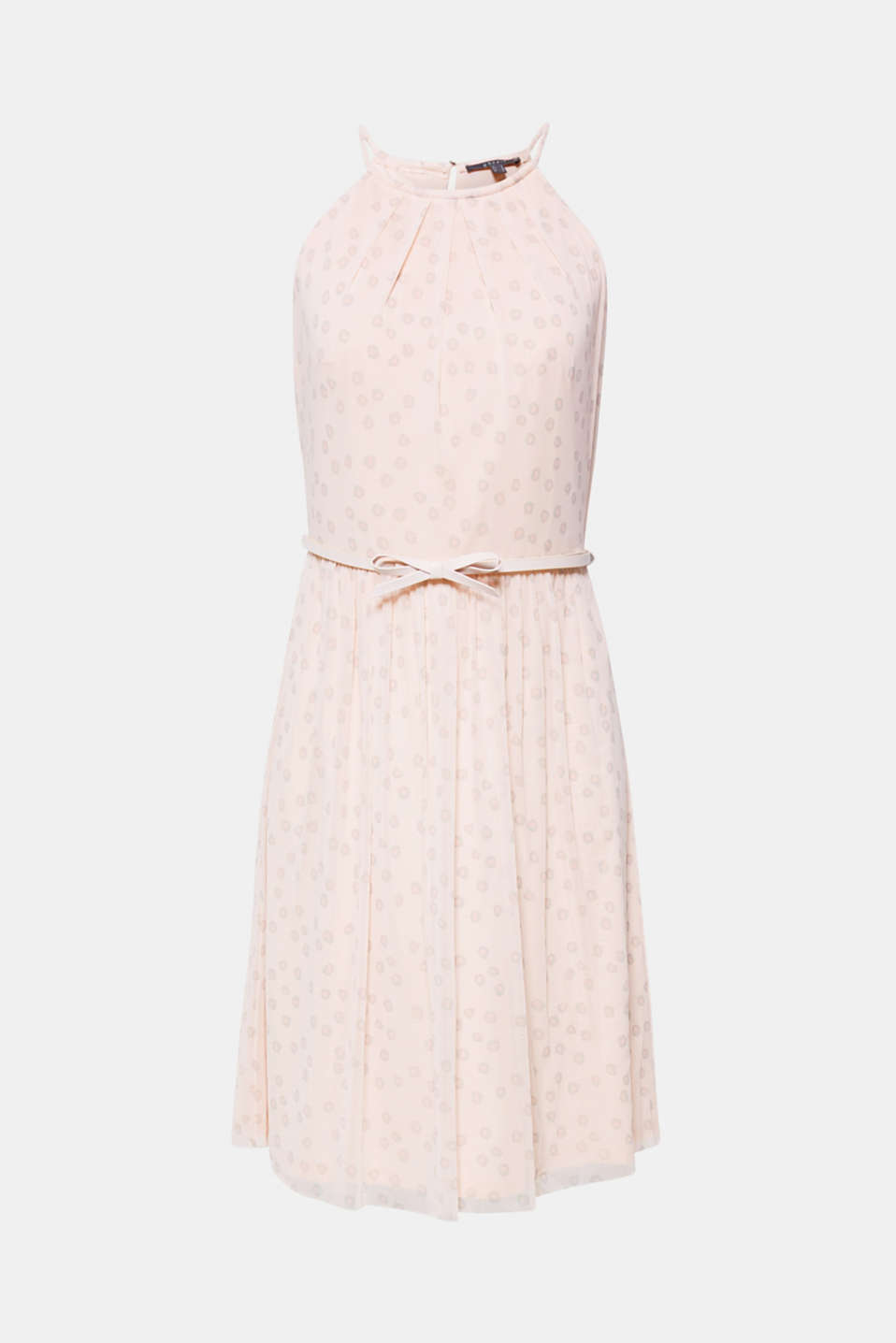 Mesh dress with a print and a bow-detailed belt, OLD PINK, detail image number 6