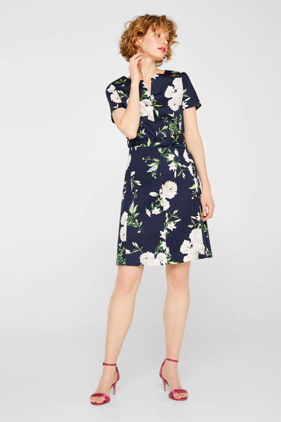 Stretch cotton floral print dress, NAVY, detail image number 0