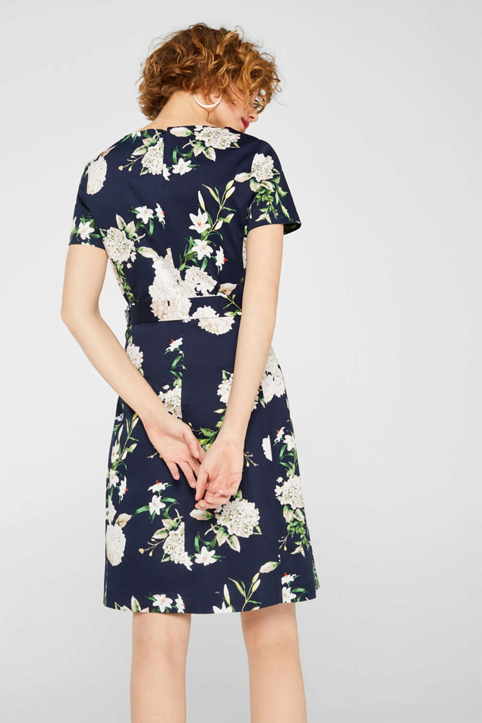 Stretch cotton floral print dress, NAVY, detail image number 2