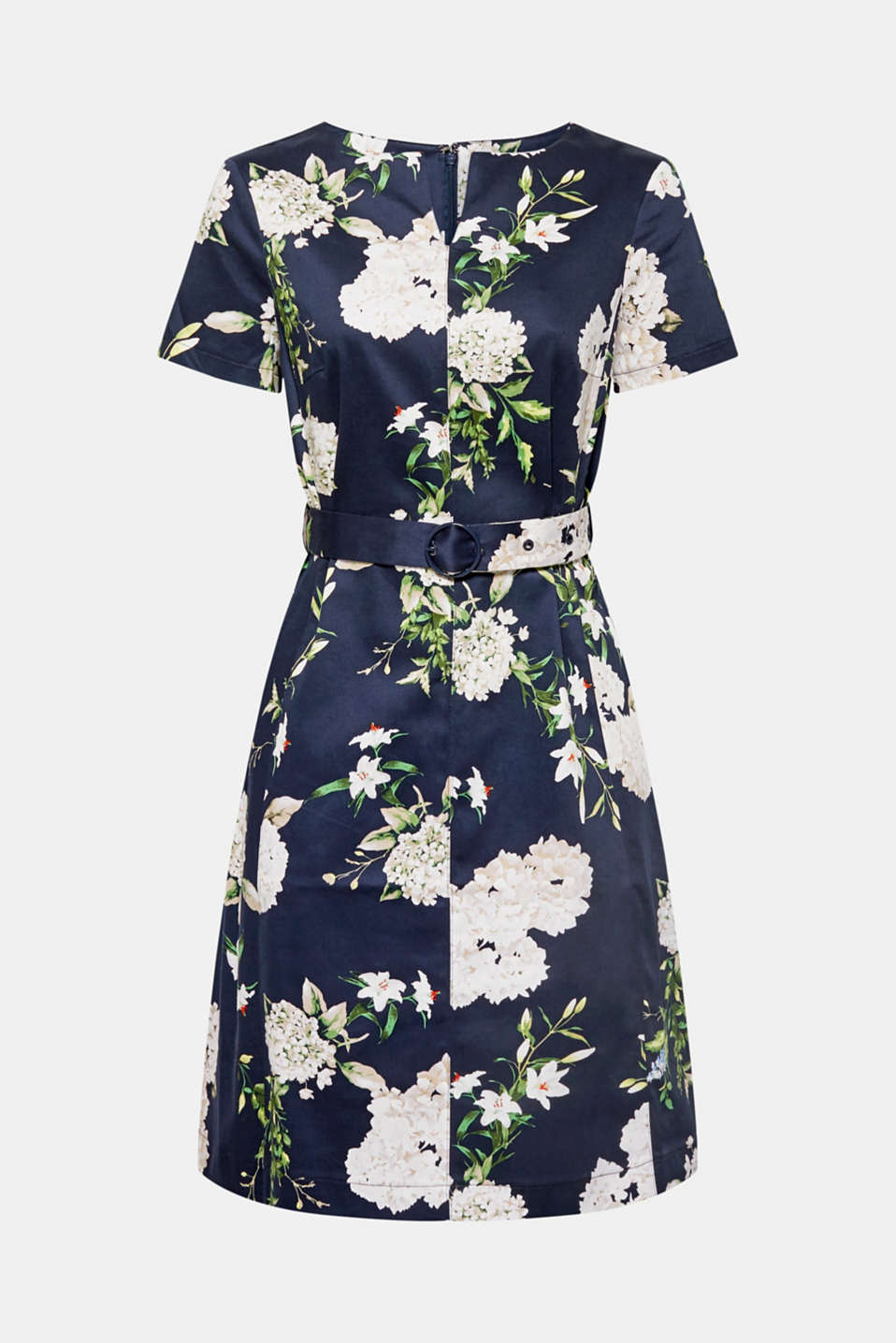 Stretch cotton floral print dress, NAVY, detail image number 5
