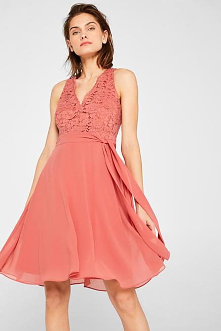 0fb1fe612f Sukienka koktajlowa z koronki i szyfonu