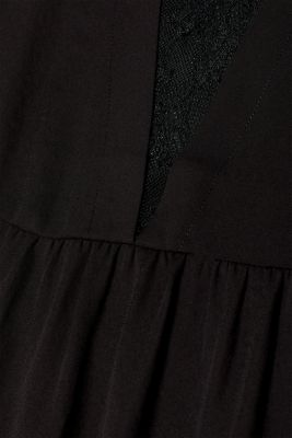 Flowing crêpe dress with a lace insert
