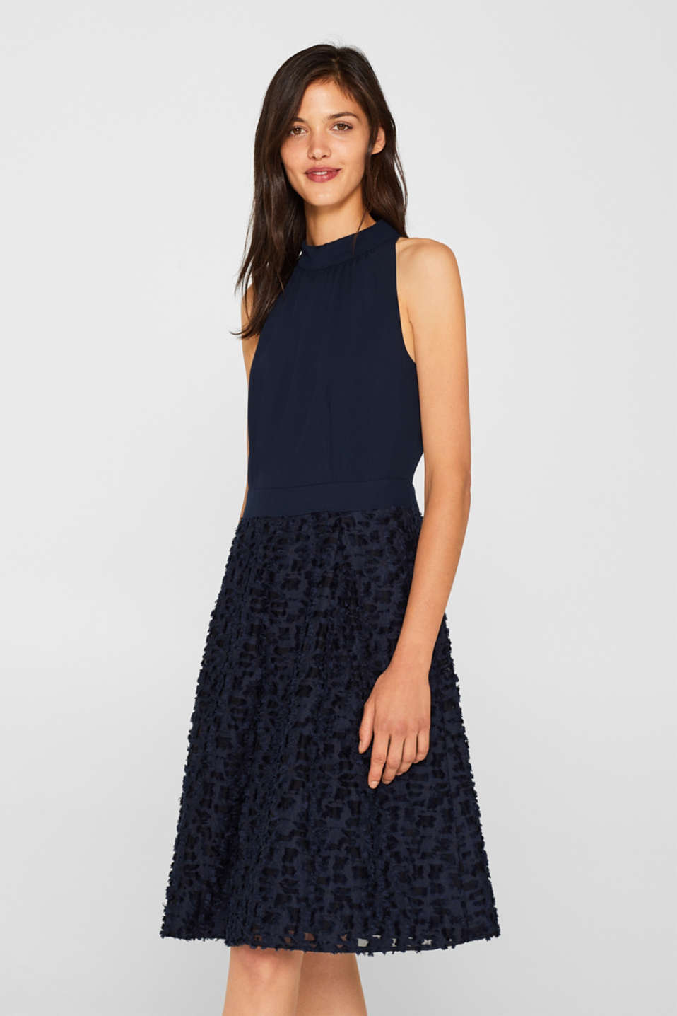 Esprit - Cocktail dress with a frayed texture