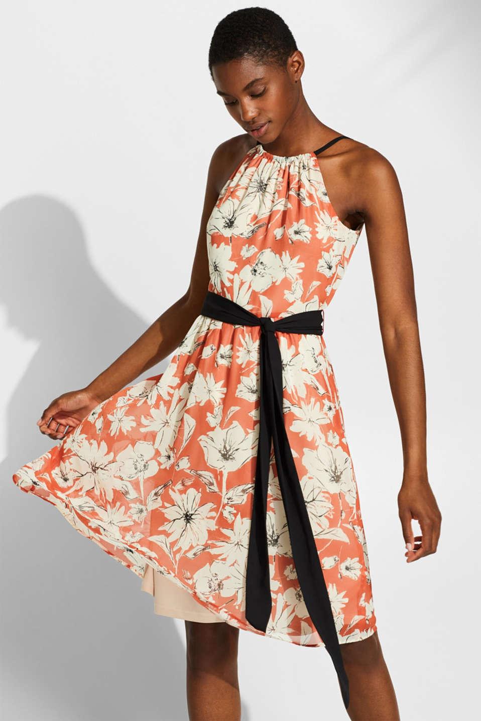 Chiffon dress with a print and belt