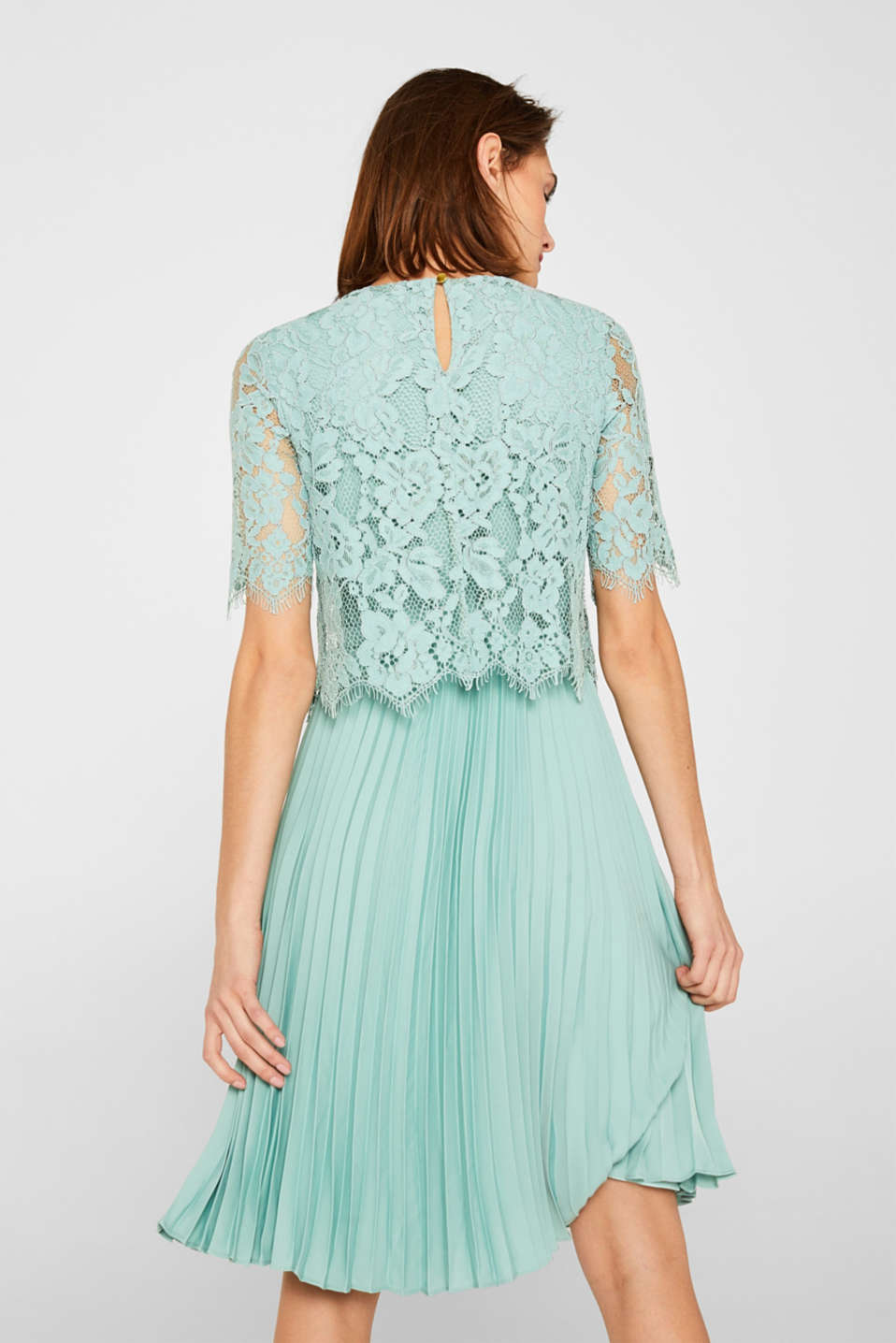 Layered dress with a lace top and pleated skirt, DUSTY GREEN, detail image number 1
