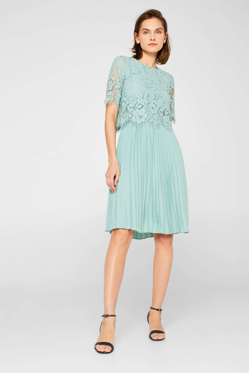 Layered dress with a lace top and pleated skirt, DUSTY GREEN, detail image number 0