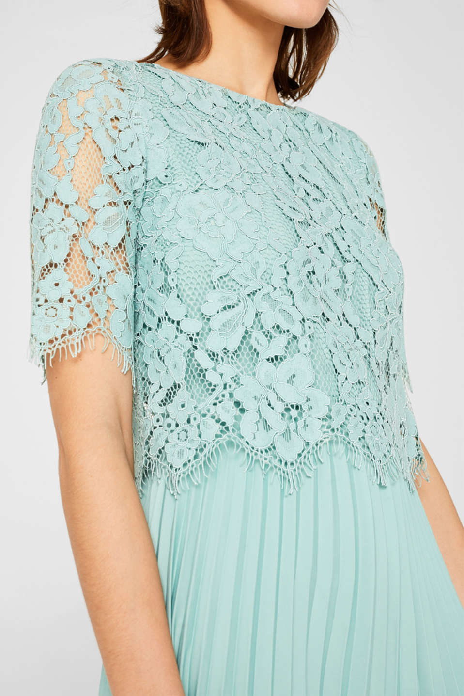 Layered dress with a lace top and pleated skirt, DUSTY GREEN, detail image number 2