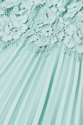 Layered dress with a lace top and pleated skirt, DUSTY GREEN, detail