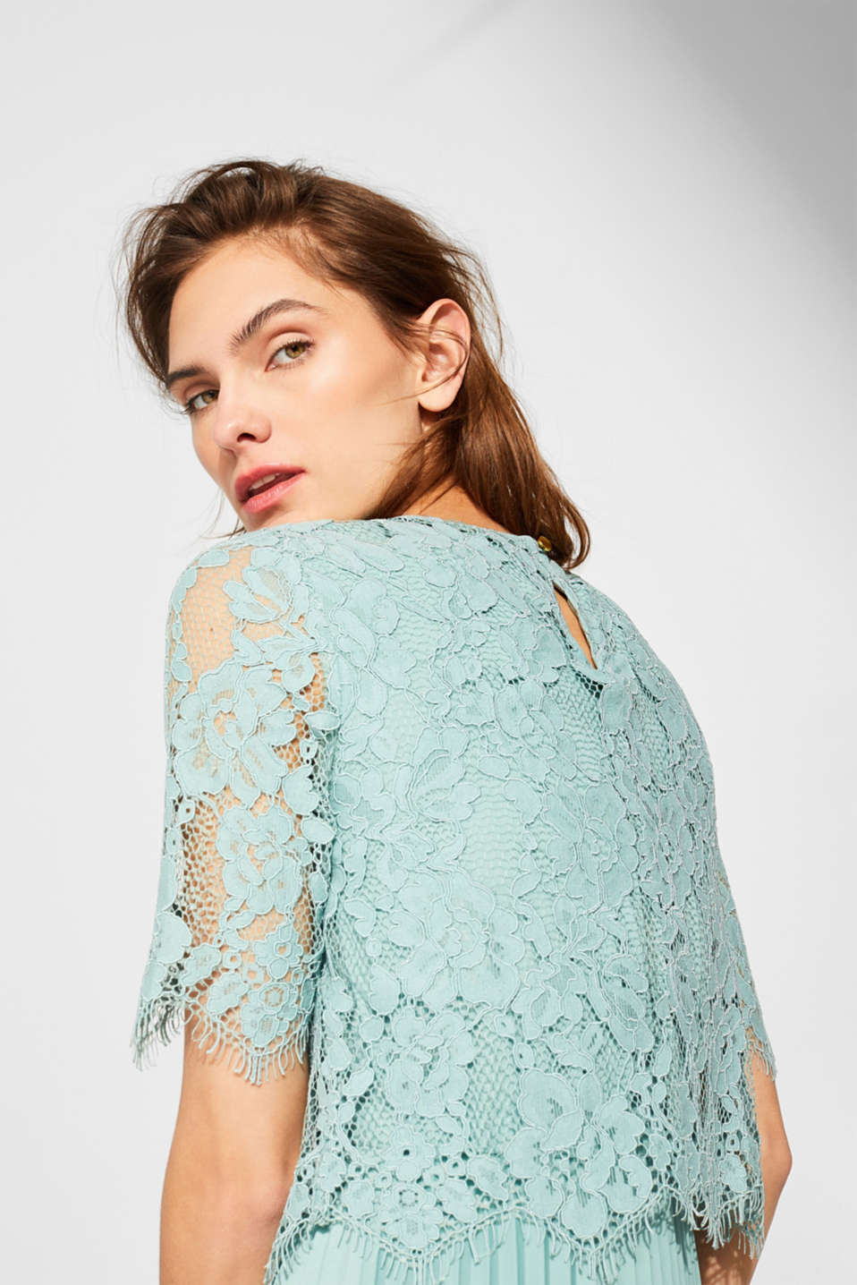 Layered dress with a lace top and pleated skirt, DUSTY GREEN, detail image number 5