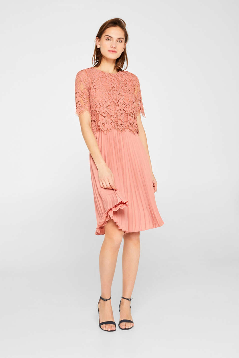Layered dress with a lace top and pleated skirt, SALMON, detail image number 1