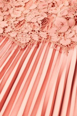 Layered dress with a lace top and pleated skirt, SALMON, detail