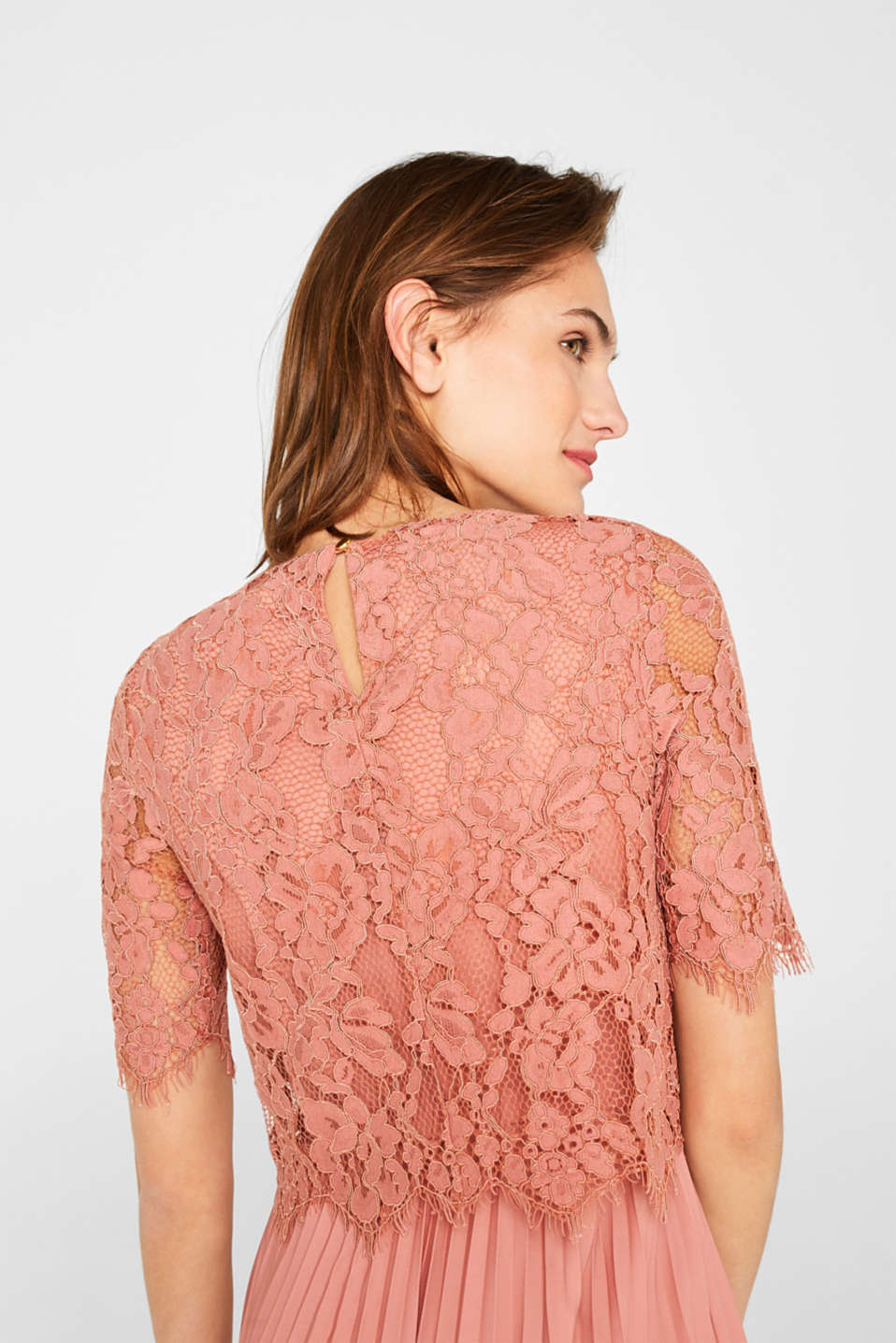 Layered dress with a lace top and pleated skirt, SALMON, detail image number 5