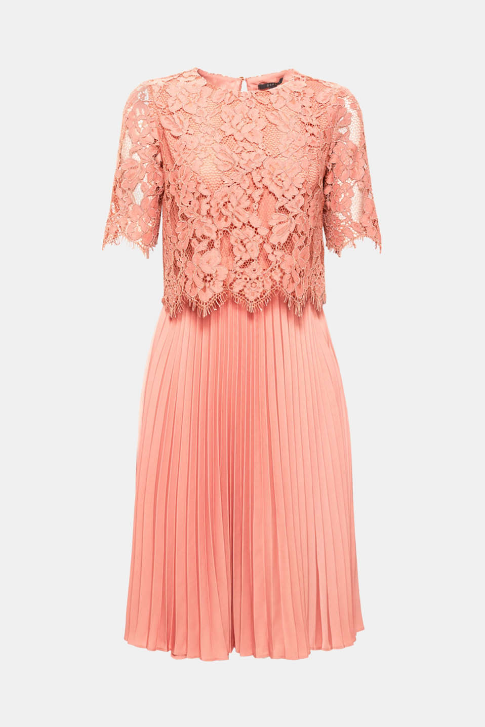 Layered dress with a lace top and pleated skirt, SALMON, detail image number 6