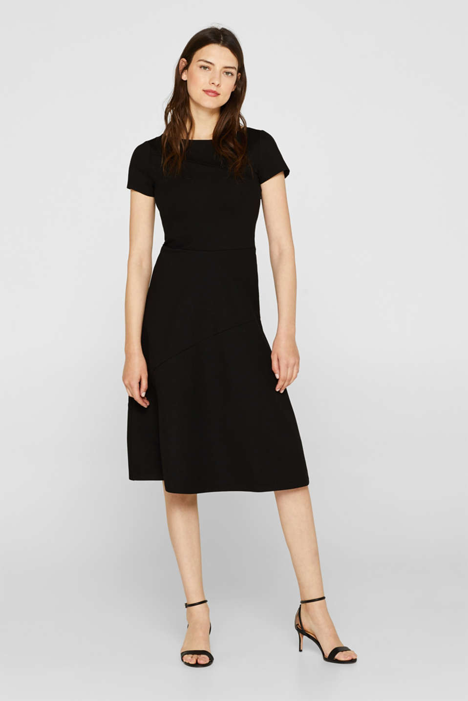 Jersey midi dress with stretch, BLACK, detail