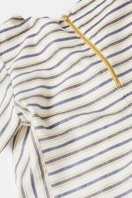 Striped blouse with a metal zip