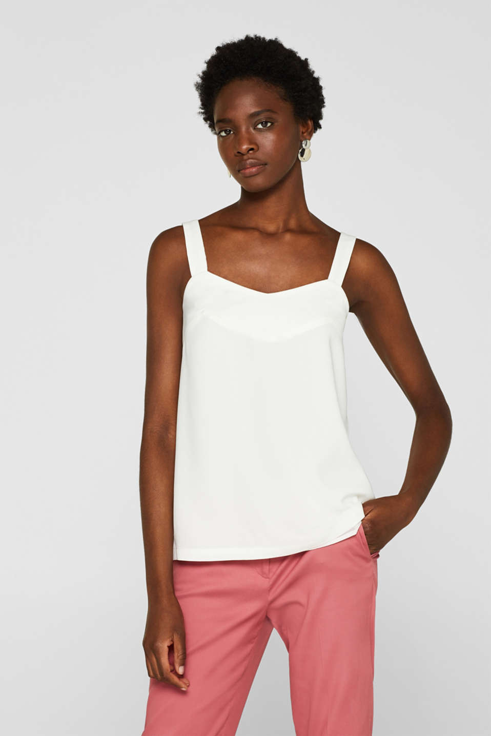 Esprit - Woven top with a flat V-neckline