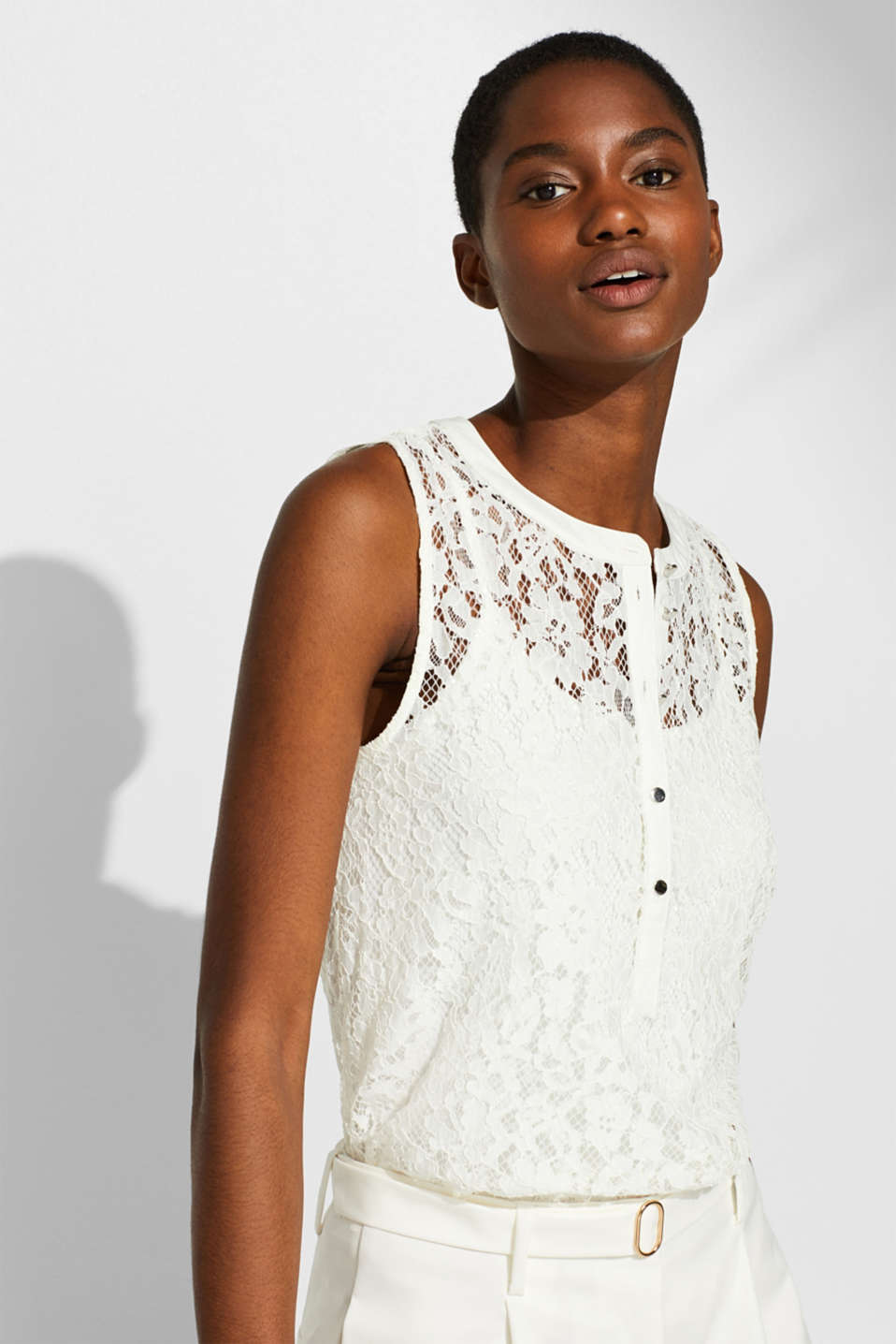 Esprit - 2-in-1 blouse top made of lace