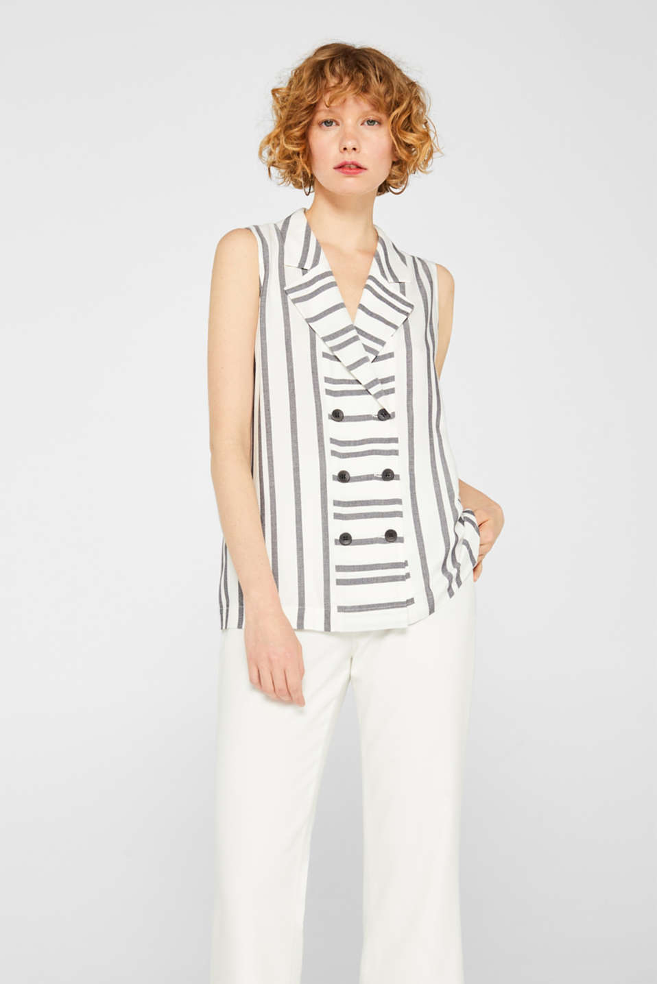 Double-breasted, waistcoat-style blouse top
