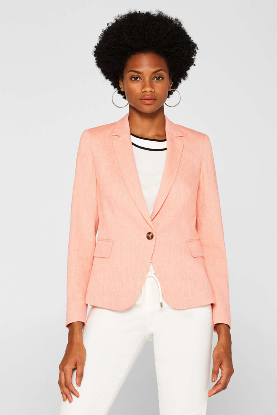 Esprit - Blended linen: fitted two-tone blazer