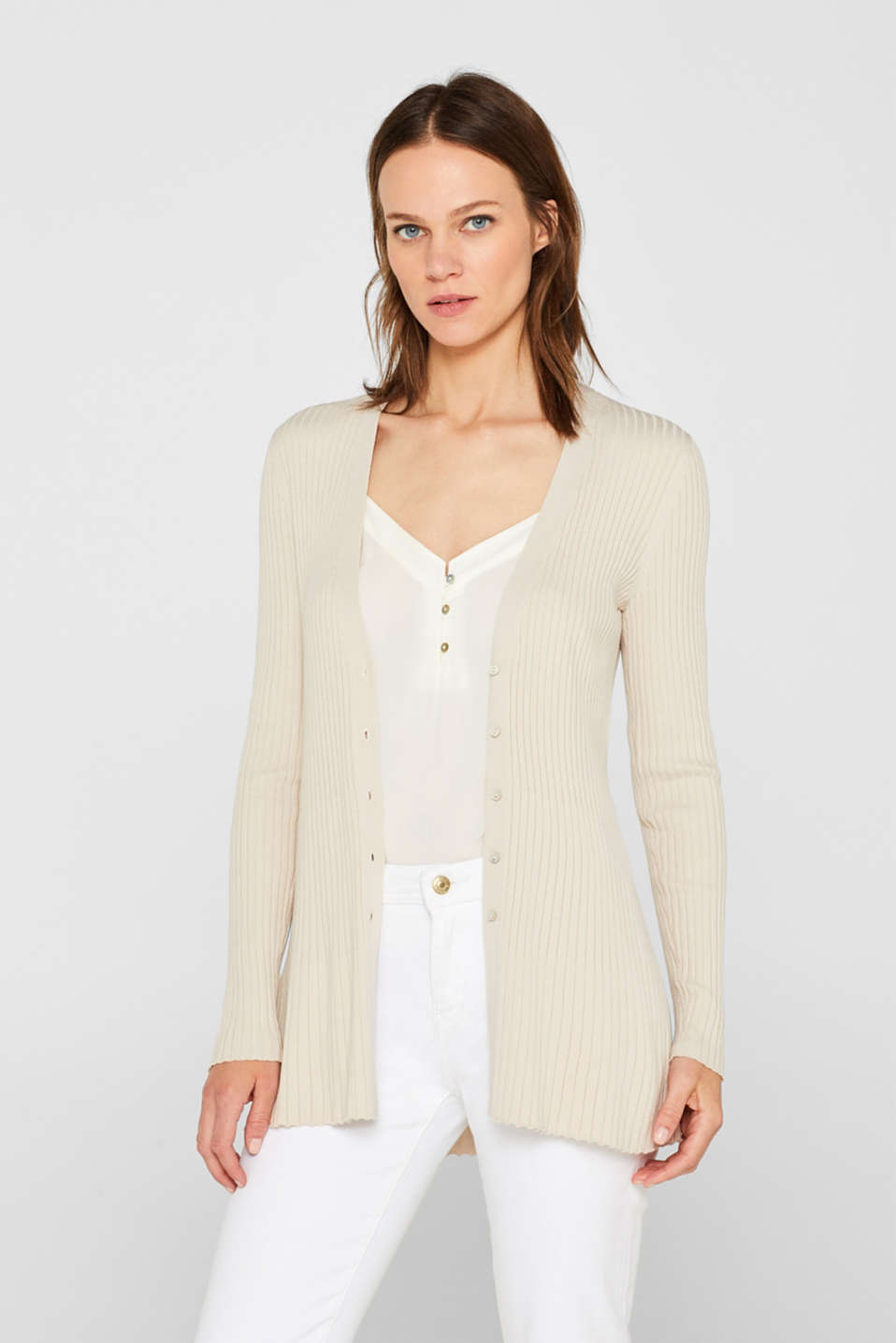 Esprit - Ribbed cardigan in a fine knit