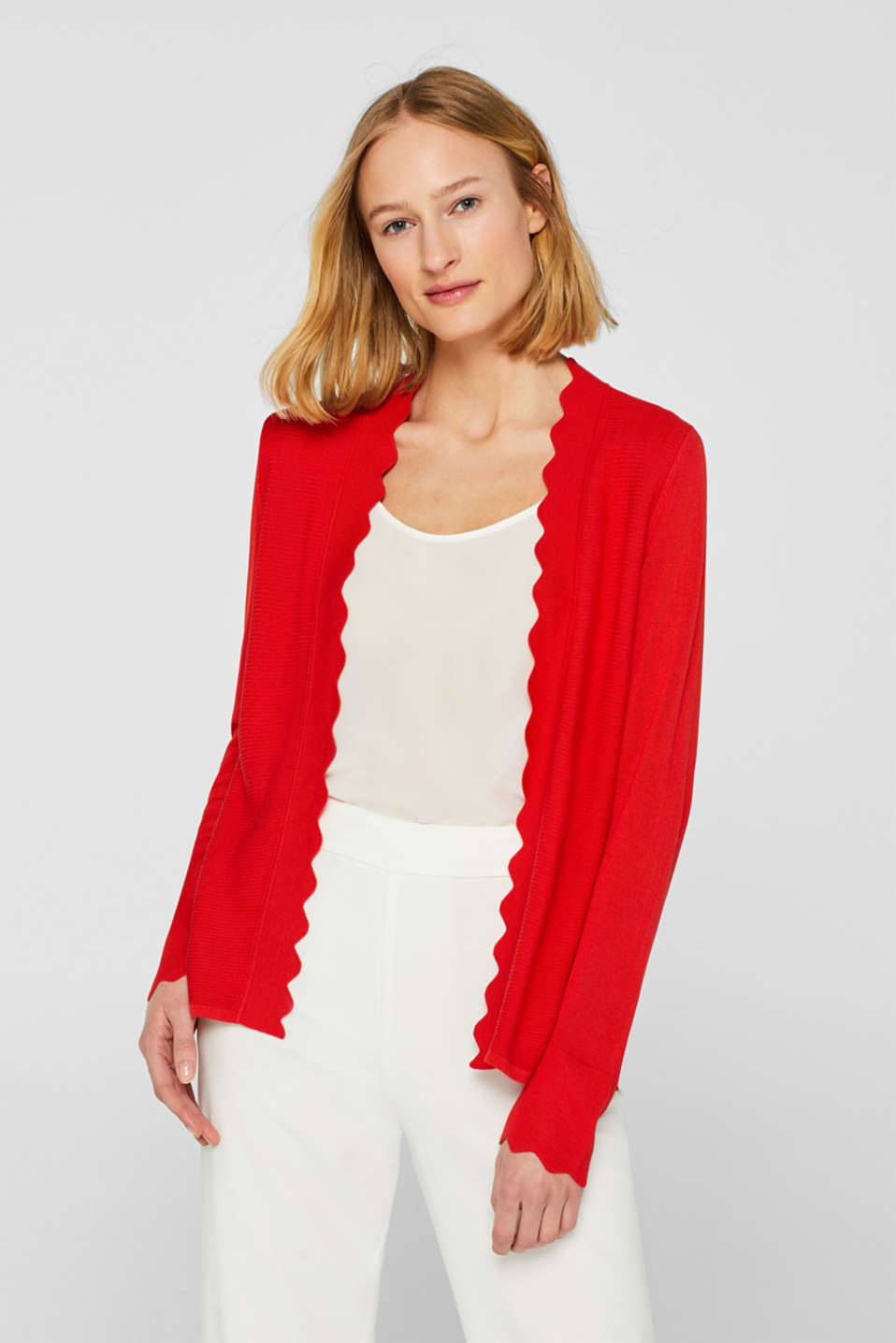 Esprit - Open cardigan with wavy edges