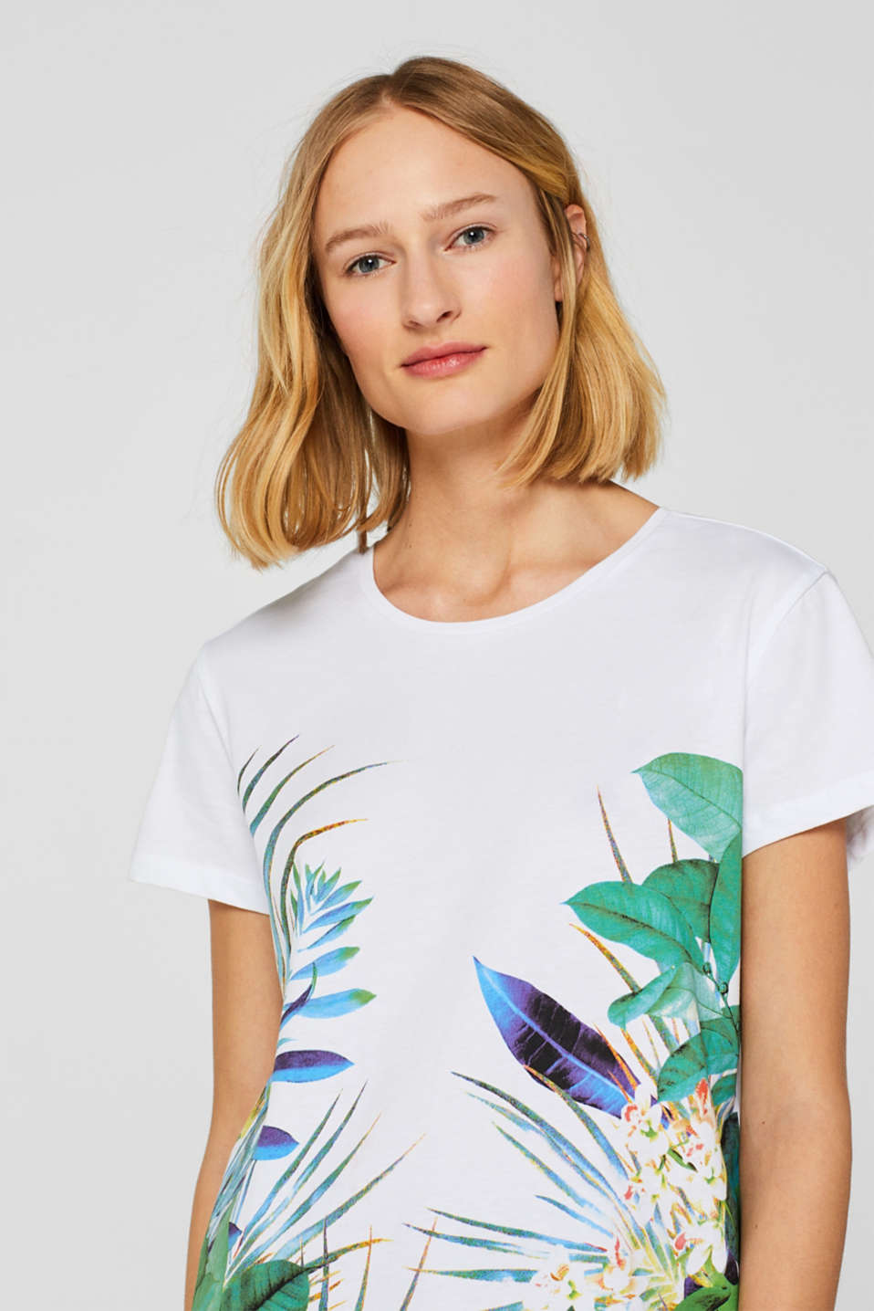 Esprit - Printed T-shirt in mixed fabrics, 100% cotton
