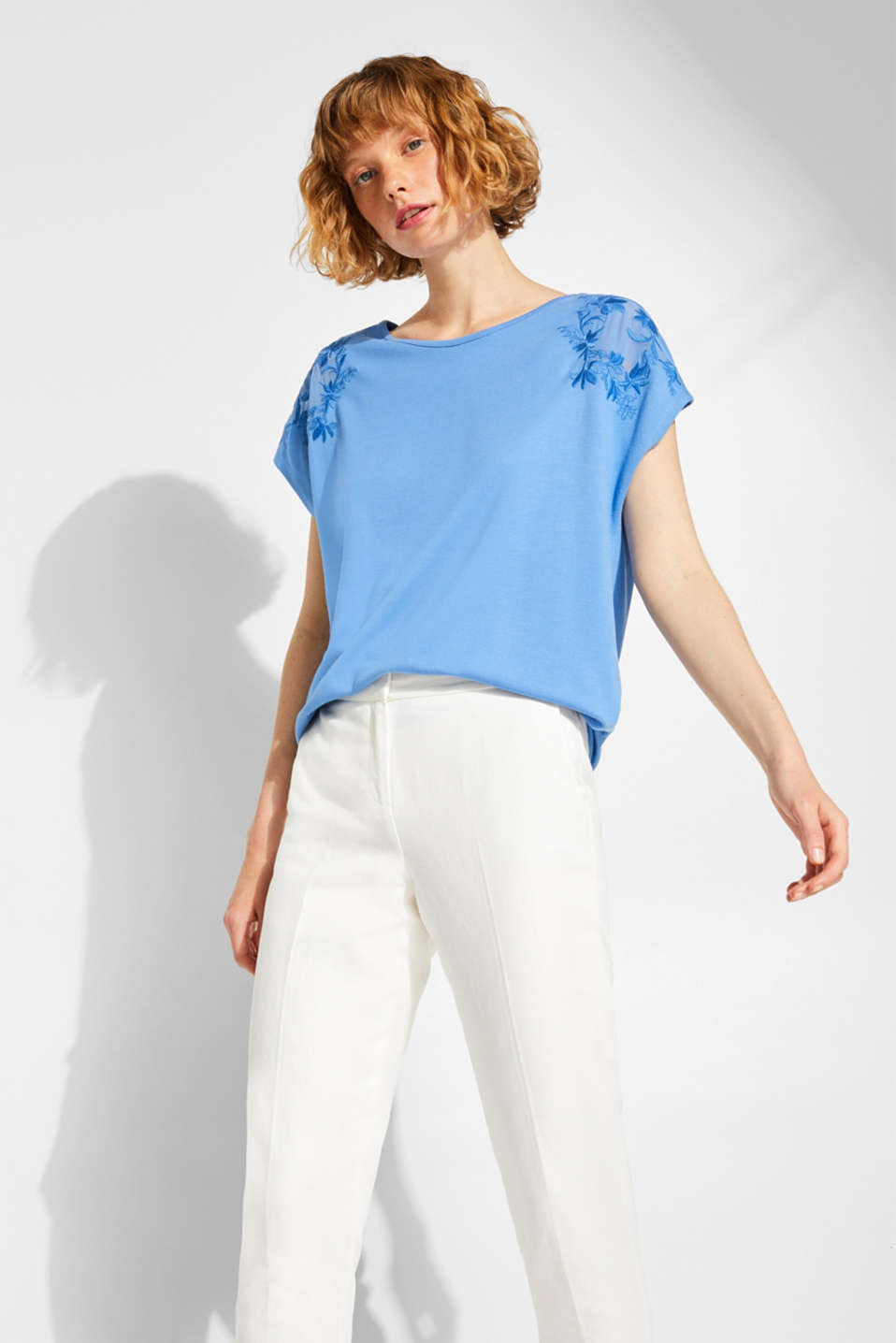 Stretchy top with embroidered mesh details, BLUE, detail image number 0
