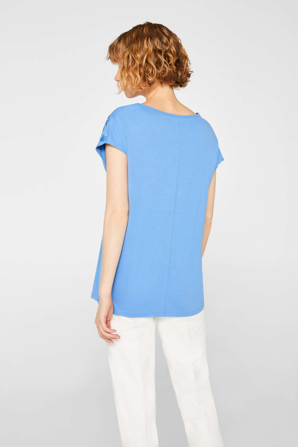 Stretchy top with embroidered mesh details, BLUE, detail image number 3