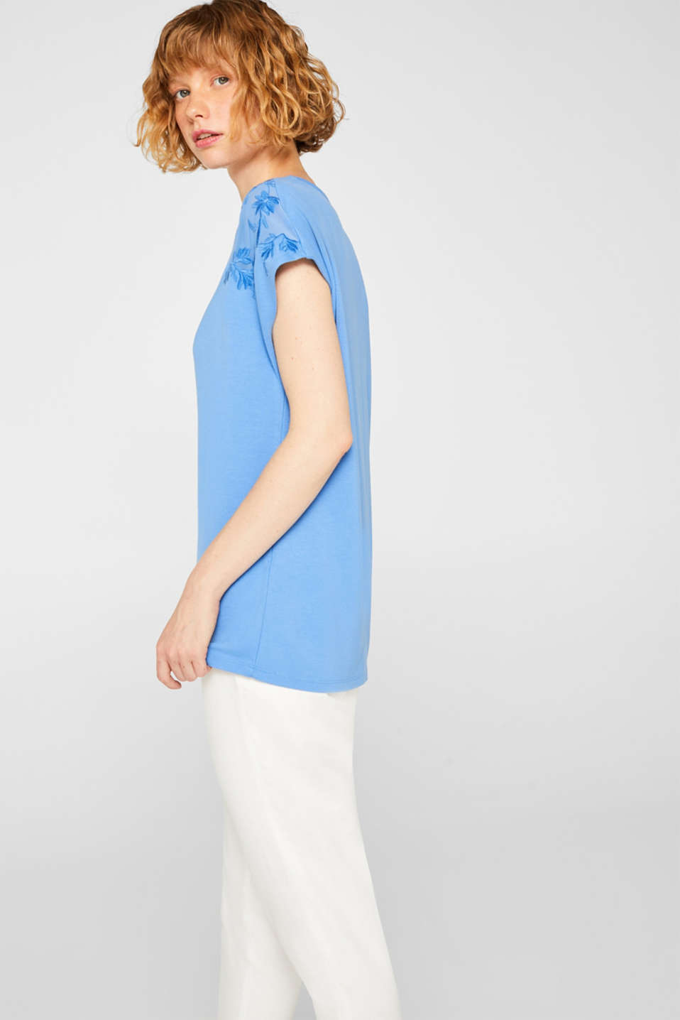 Stretchy top with embroidered mesh details, BLUE, detail image number 5
