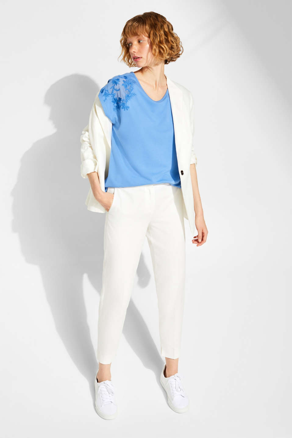 Stretchy top with embroidered mesh details, BLUE, detail image number 1