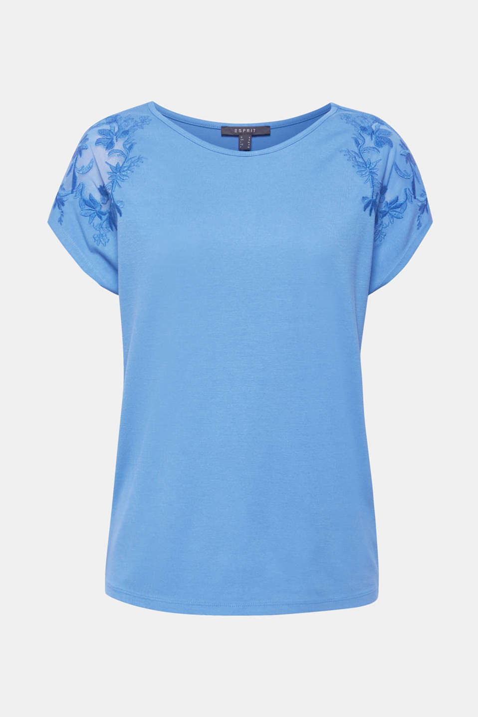 Stretchy top with embroidered mesh details, BLUE, detail image number 6