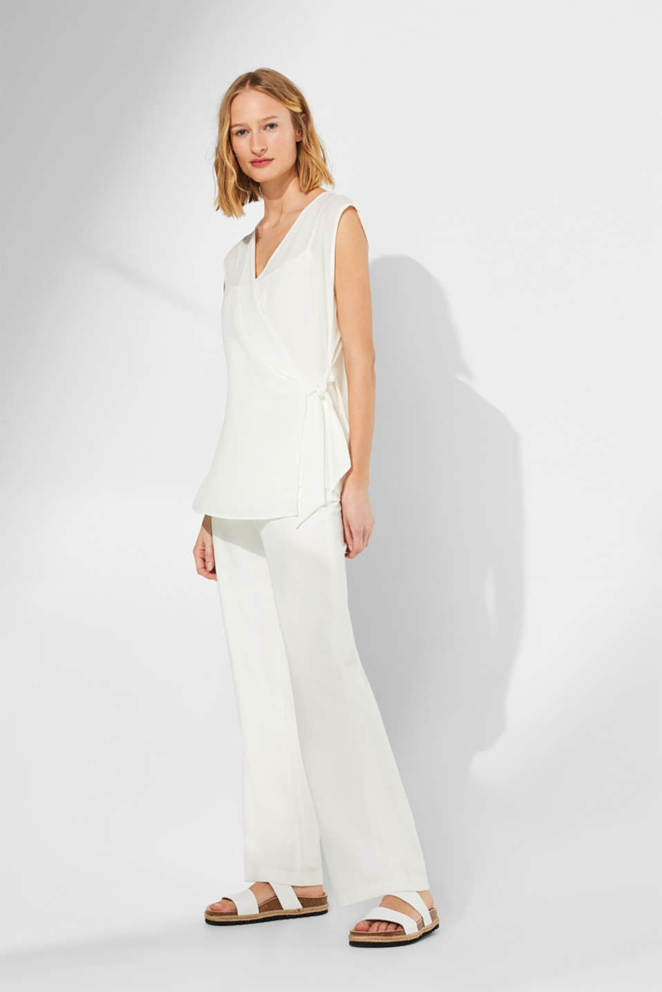 2-in-1 blouse top with wrap effect, OFF WHITE, detail image number 5