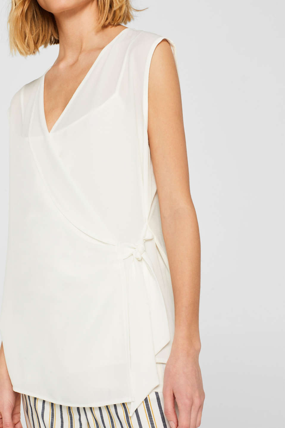 2-in-1 blouse top with wrap effect, OFF WHITE, detail image number 2