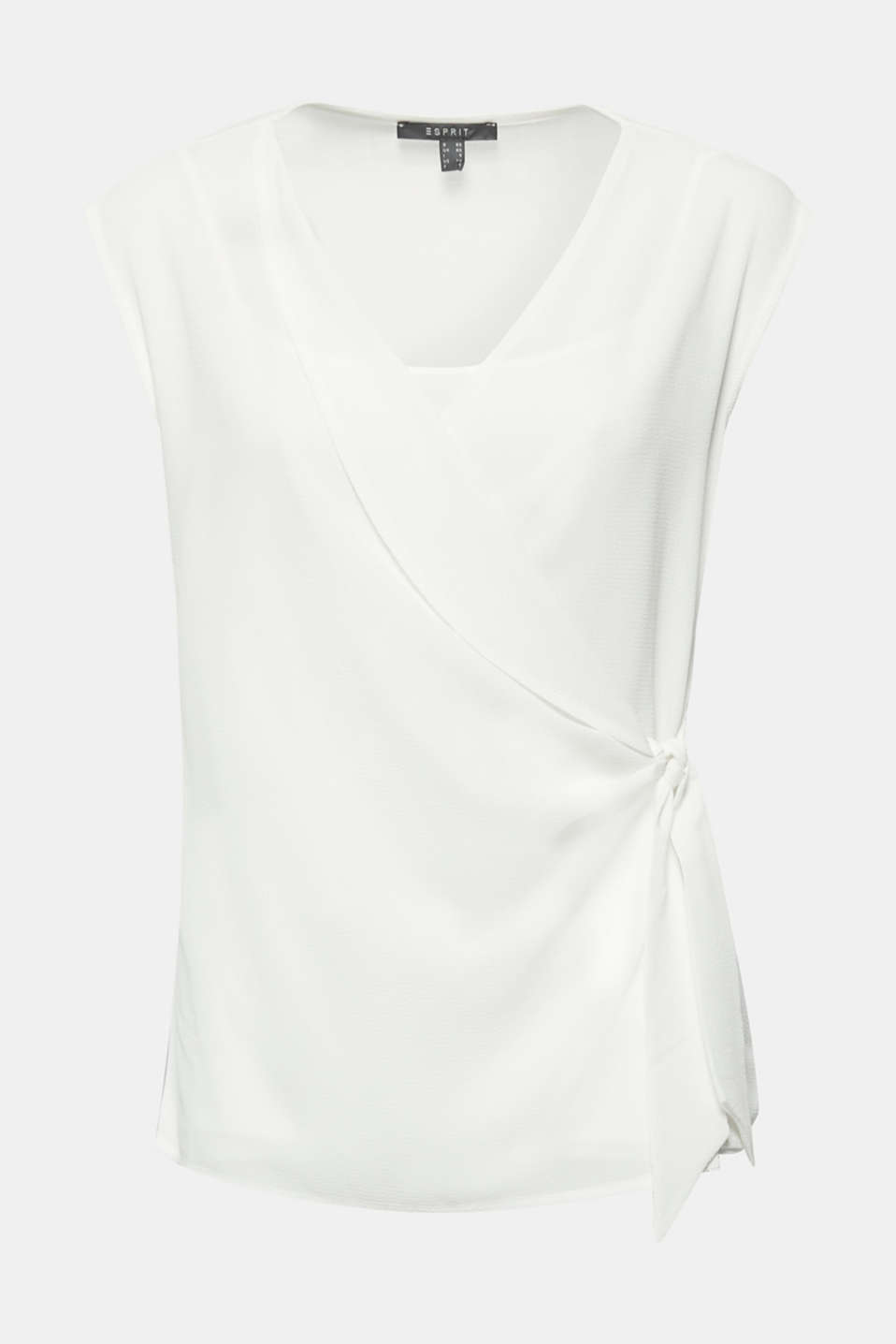 2-in-1 blouse top with wrap effect, OFF WHITE, detail image number 6