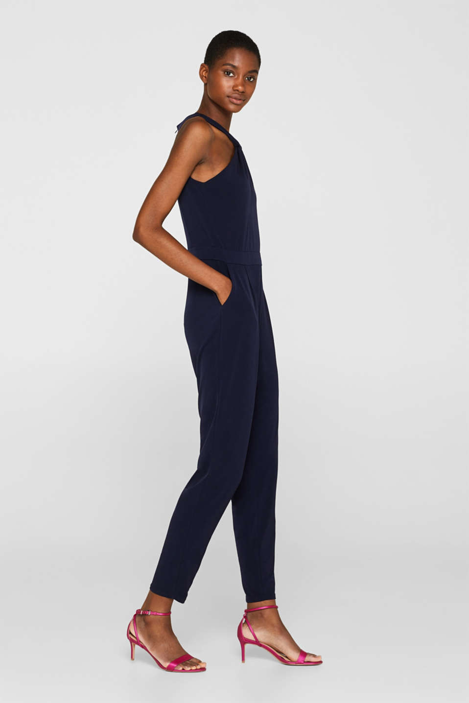 Esprit - Stretch jersey jumpsuit with a knot detail neckline