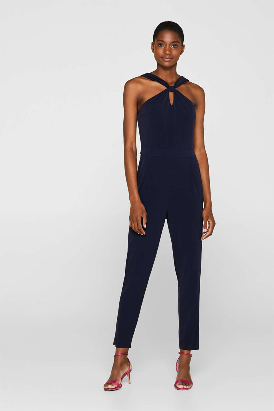 Stretch jersey jumpsuit with a knot detail neckline