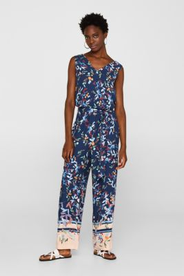 Jumpsuit with a wrap-over effect and hem borders, NAVY, detail