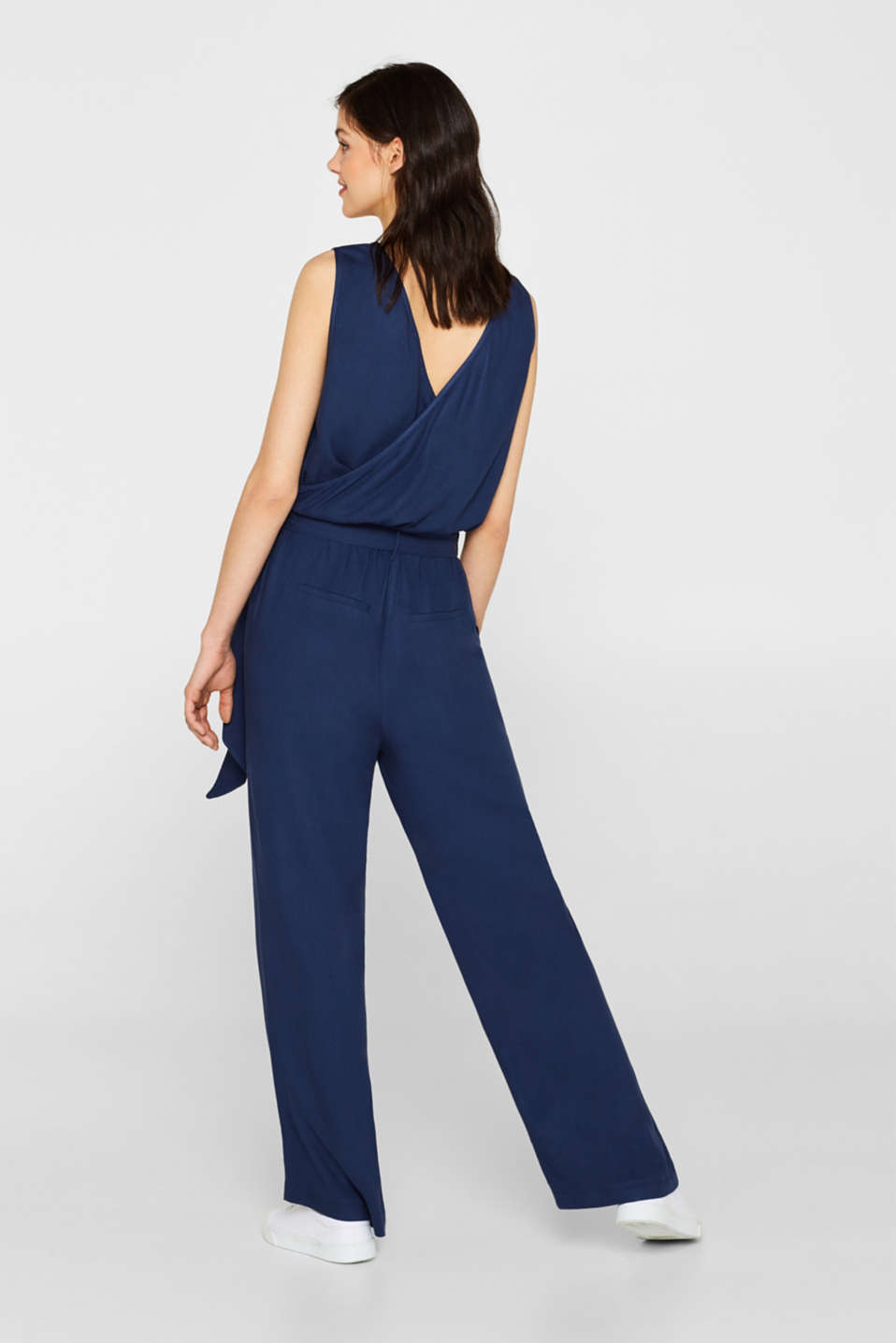 Jumpsuit with a wide leg and rear cut-out, NAVY, detail image number 3