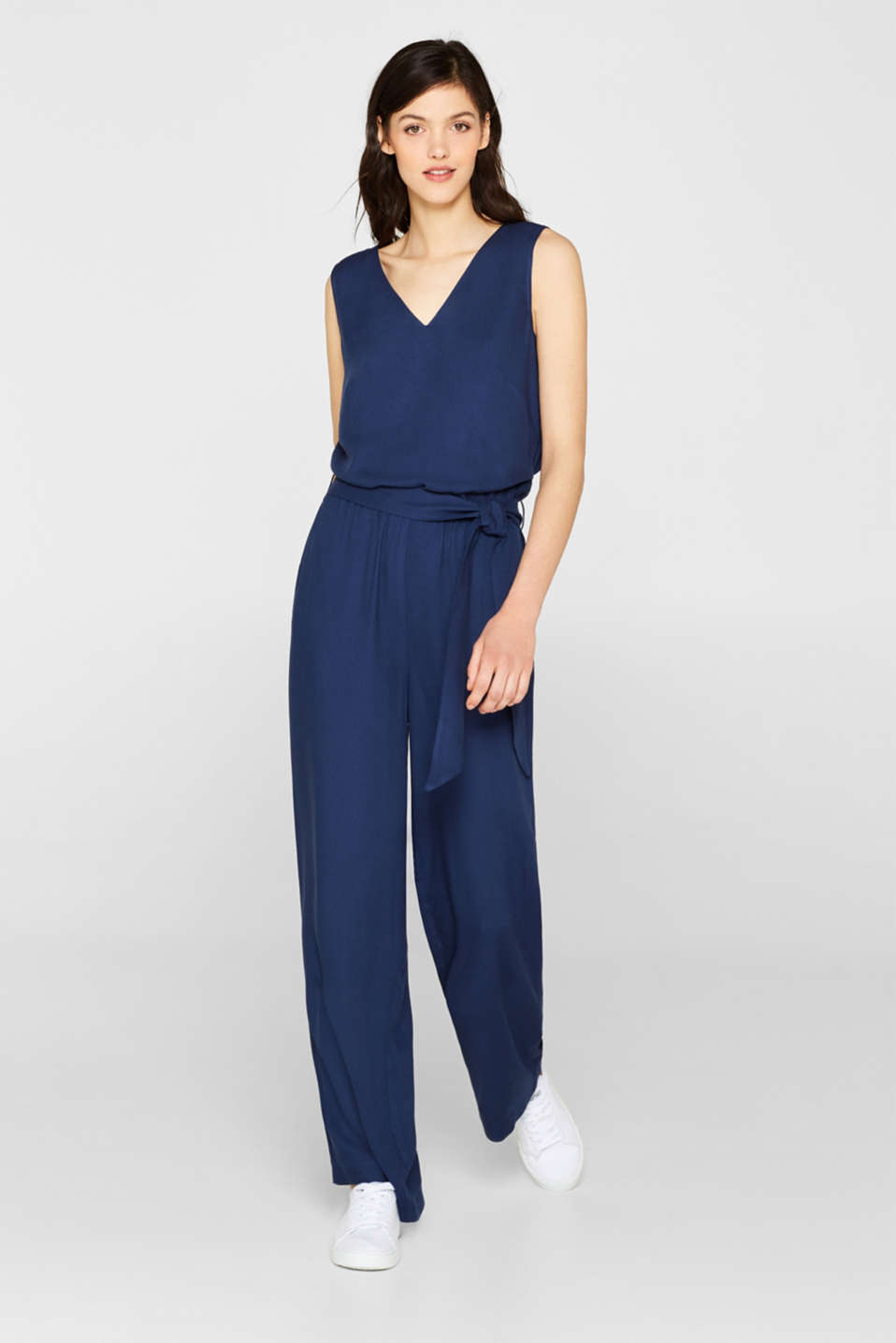 Jumpsuit with a wide leg and rear cut-out, NAVY, detail image number 1