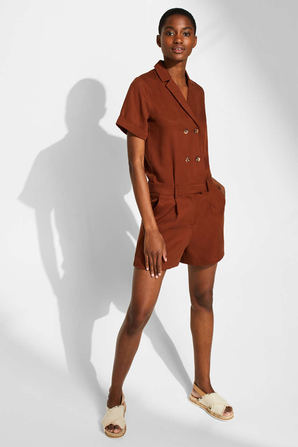 Esprit - Double-breasted playsuit made of textured lyocell