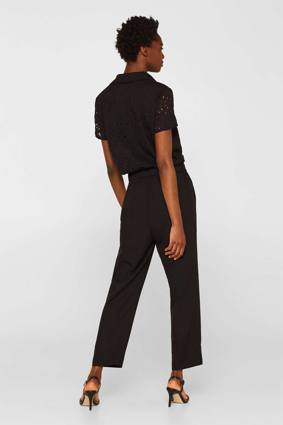 Jumpsuit with an embroidered top, BLACK, detail image number 3