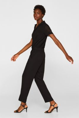Jumpsuit with an embroidered top, BLACK, detail
