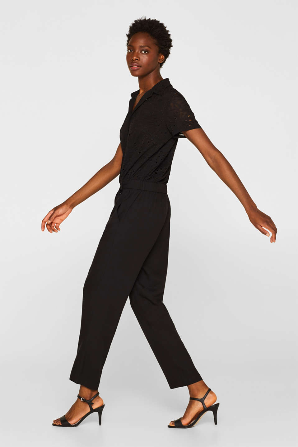 Jumpsuit with an embroidered top, BLACK, detail image number 1