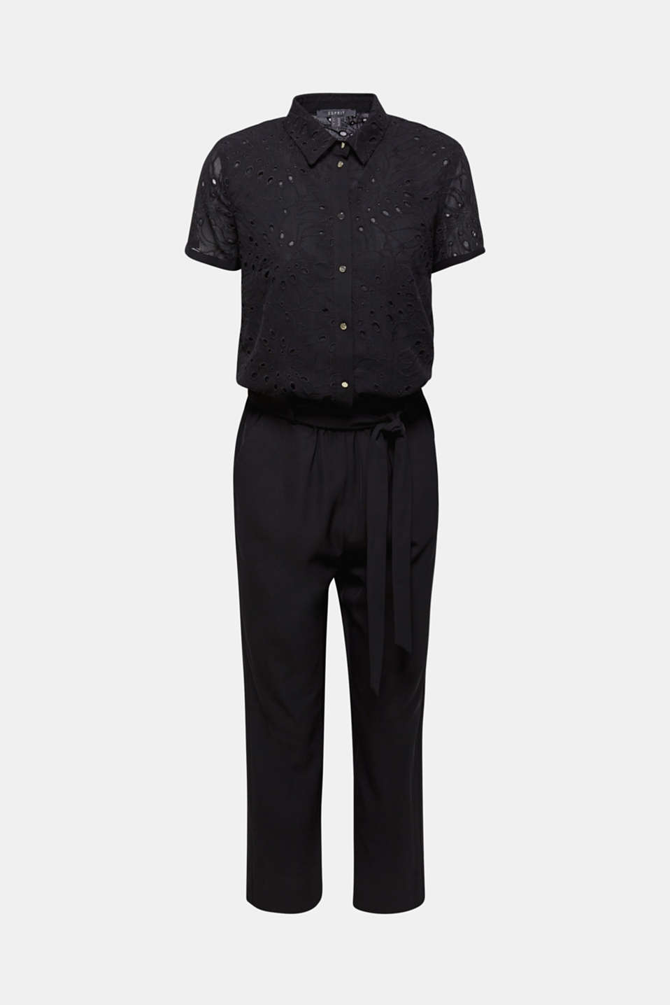 Jumpsuit with an embroidered top, BLACK, detail image number 7