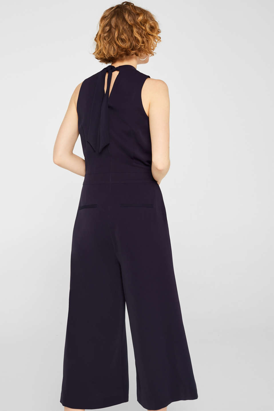 Jumpsuit with a band collar and bow, NAVY, detail image number 4