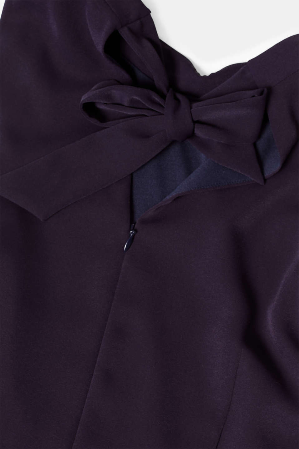 Jumpsuit with a band collar and bow, NAVY, detail image number 5