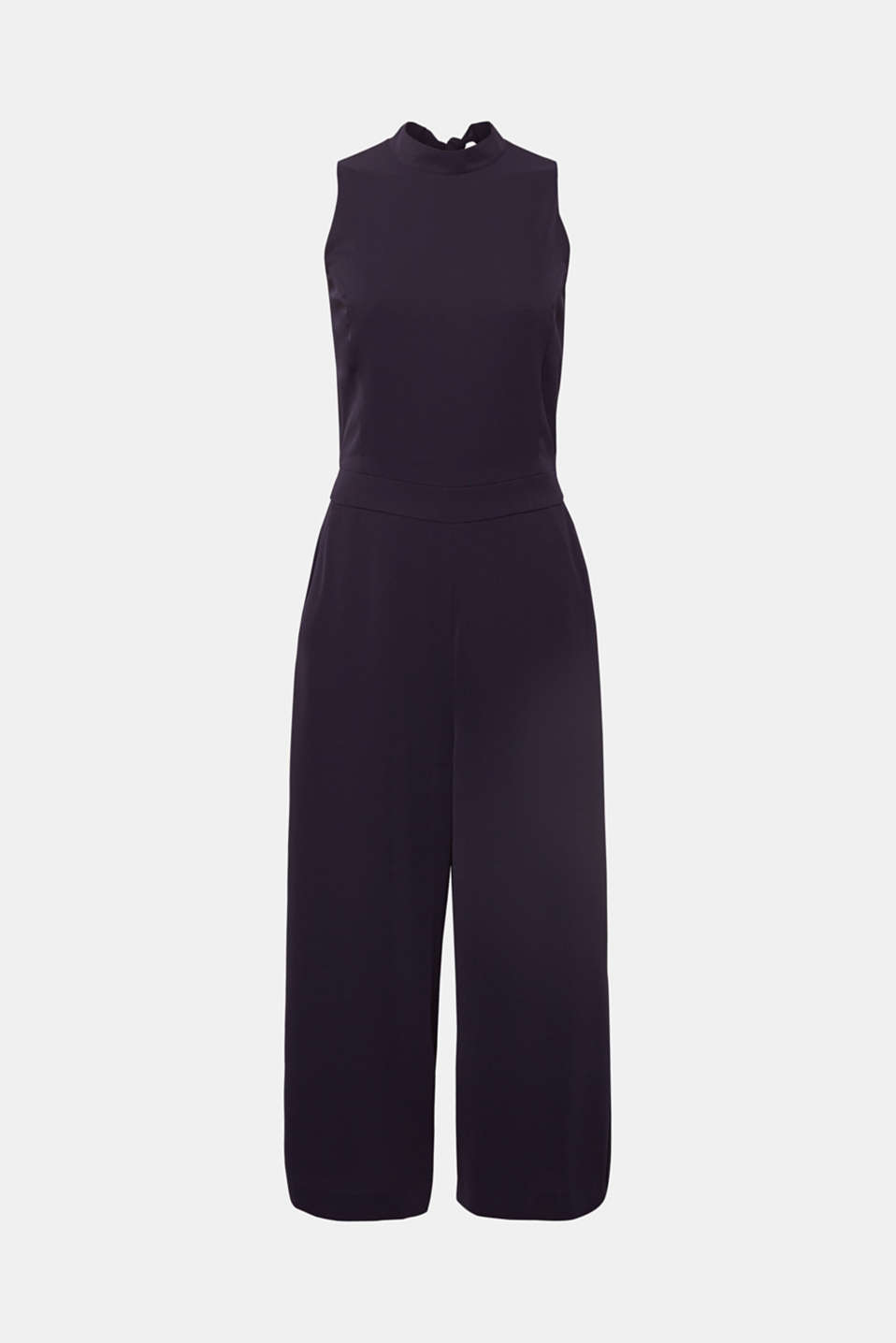 Jumpsuit with a band collar and bow, NAVY, detail image number 7